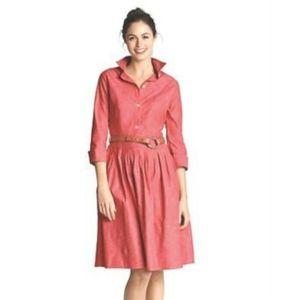 PLEATED SHIRT-Dress Chambray Denim 3/4 Sleeve 2